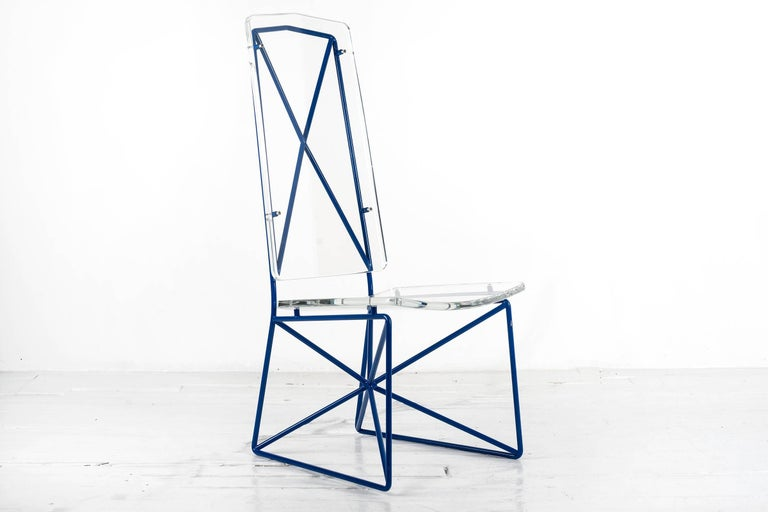 Set of four Prototype steel and acrylic chairs by Arturo Pani.  Arturo Pani was one of the most significant figures working in design during the Mexican Miracle (1940-1970), a period of economic expansion marked by class tensions. While Mario, his