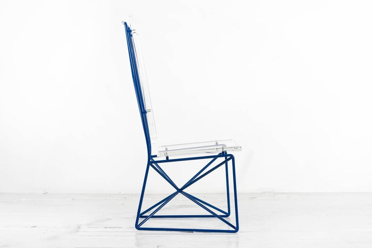 Modern Arturo Pani Prototype Steel and Lucite Chairs For Sale