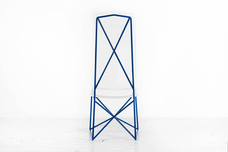 Powder-Coated Arturo Pani Prototype Steel and Lucite Chairs For Sale