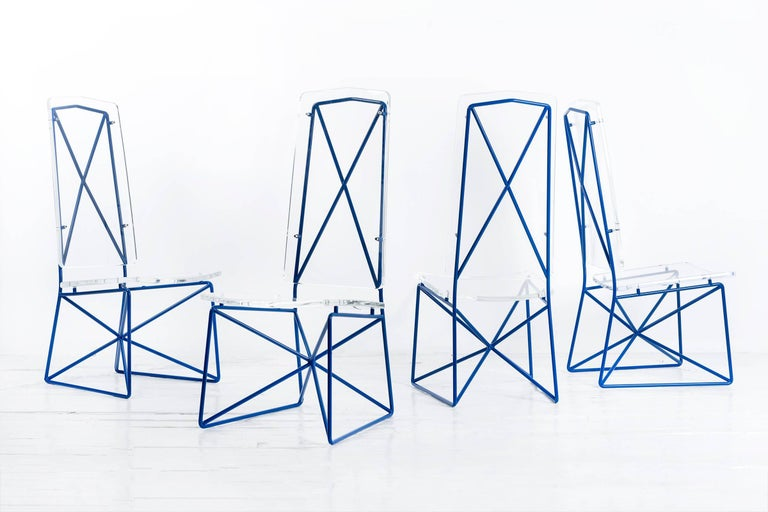 Arturo Pani Prototype Steel and Lucite Chairs In Good Condition For Sale In Chicago, IL