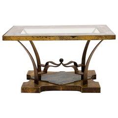 Arturo Pani Rectangular Side Table Eglomisé Glass & Bronze 1950s Elegant Flair