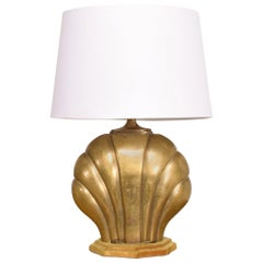 Arturo Pani Regency Moderne Mexico 1940s Cast Brass Sea Shell Table Lamp