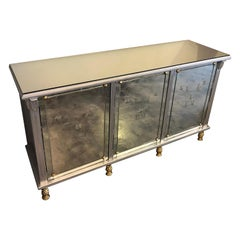 Arturo Pani Silver Wood and Mirrors Credenza