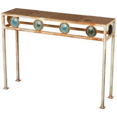 Arturo Pani Style Console Table with Art Glass Accents and Terrazzo Top