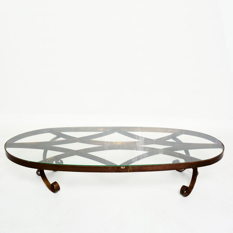 Mid-20th Century Arturo Pani Style Oval Brass Coffee Table Mexican Modernism, 1940s For Sale