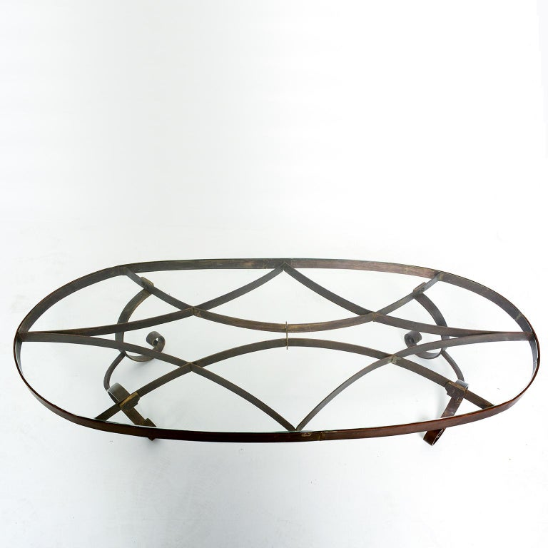 Arturo Pani Style Oval Brass Coffee Table Mexican Modernism, 1940s For Sale 2
