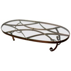 Arturo Pani Style Oval Brass Coffee Table Mexican Modernism, 1940s