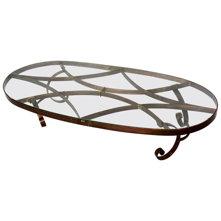 Arturo Pani Style Oval Brass Coffee Table Mexican Modernism, 1940s For Sale