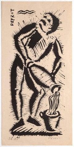 Figure - Original Woodcut by Arturo Peyrot - mid-20th Century