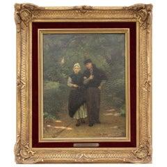 Artz, David Adolf Constant Dutch Framed Woodland Walk Oil on Board Dated 1866