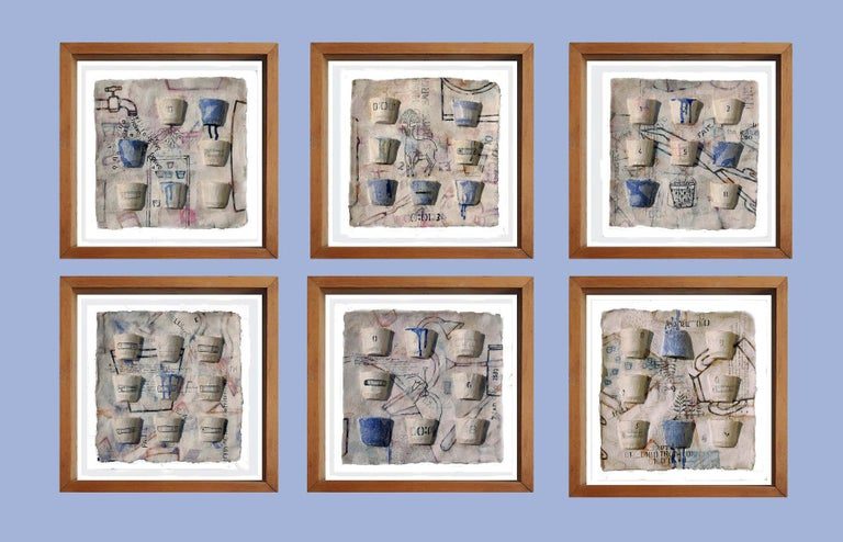 """Arun Bain Interior Painting - Believe, Faith, Truth, Six Panels, Ink, Earth, Watercolor, Blue, White""""In Stock"""""""