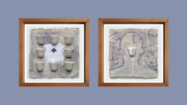 """Arun Bain Still-Life Painting - Painting, Two Panels, Ink, Earth, Watercolor, Blue, White, Black """"In Stock"""""""