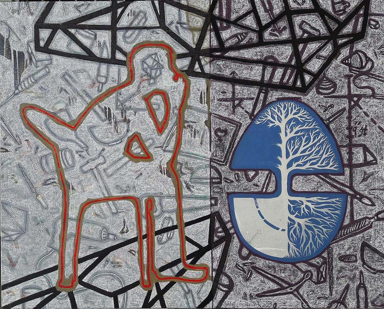 """Arun Bain Figurative Painting - The Tree, Pastel, Earthcolor, Acrylic Painting, Blue, Black,Red, Brown""""In Stock"""""""