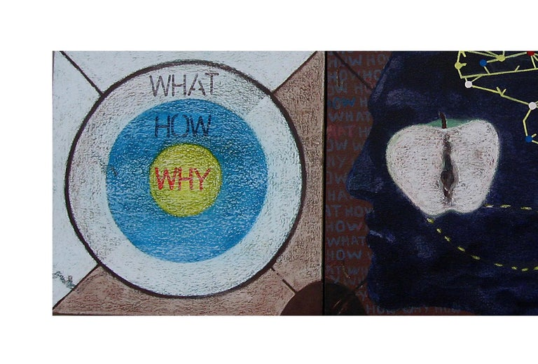 What How Why, Pastel, Earth & Acrylic on canvas, Blue, Yellow, Red