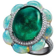 Arunashi 18KT White Gold, 10.11Ct. Cabochon Emerald Ring with Opals & Diamonds