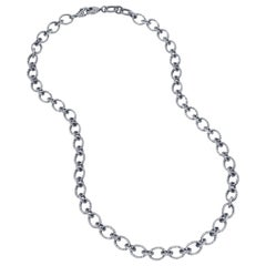 Arunashi Diamond Chain Necklace, 18 Karat Blackened Gold