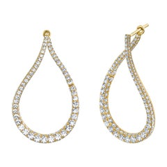Arunashi Diamond Twist Hoops, 18 Karat Rose Gold