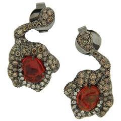 Arunashi Fire Opal Flower Bud Earrings, 18 Karat Blackened Gold