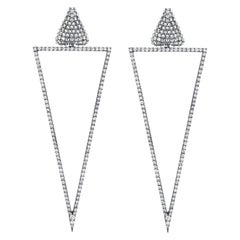 Arunashi Reverse Set Up and Down Triangle Earrings, 18 Karat Blackened Gold