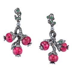 Arunashi Rubellite Bead Fruit Earrings, 18 Karat Blackened Gold