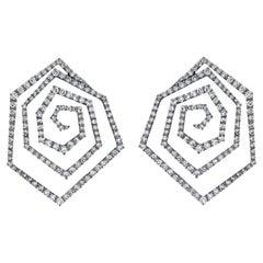 Arunashi Triangle Spiral Diamond Earrings, 18 Karat Blackened Gold