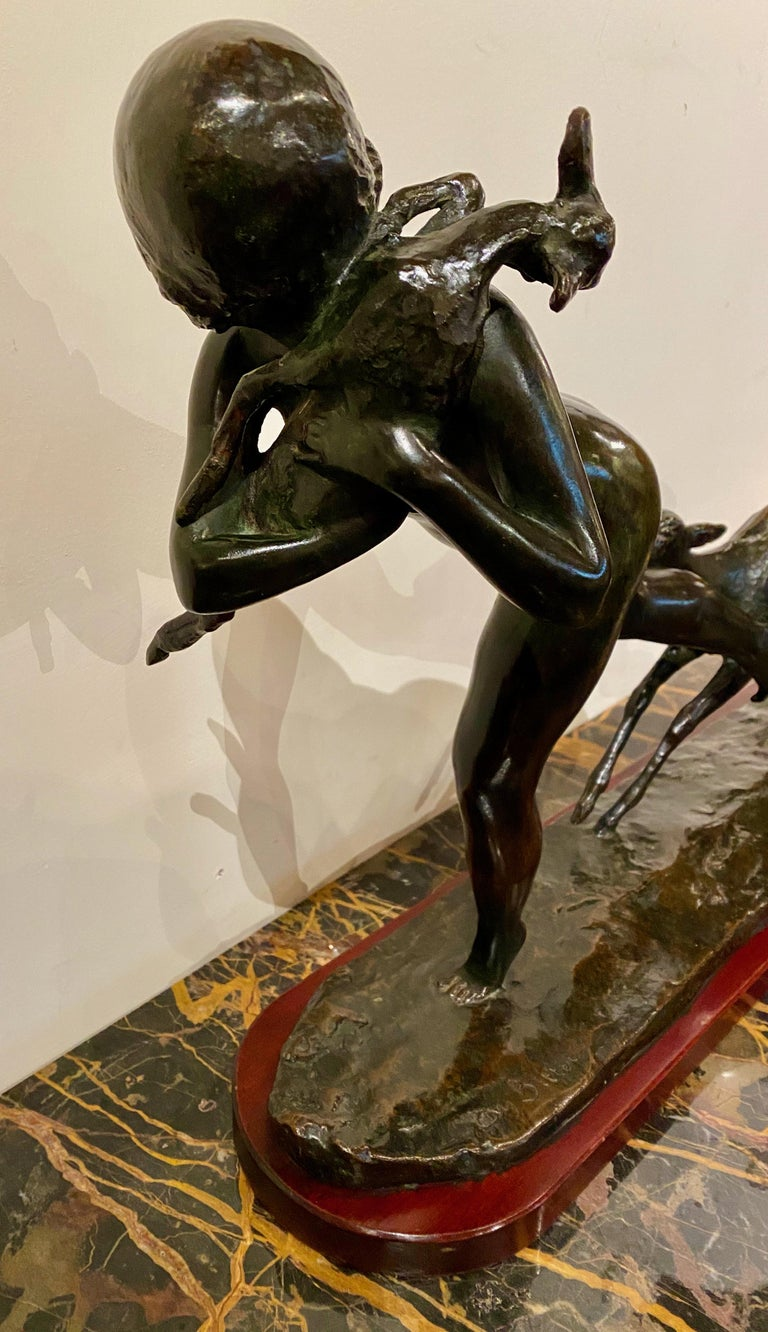 Ary Bitter Bronze Art Deco Sculpture Woman Running with Lambs Bronze For Sale 5