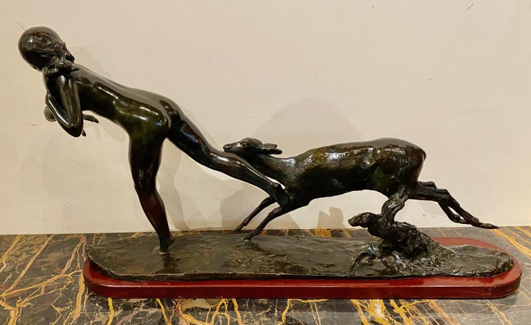 French Ary Bitter Bronze Art Deco Sculpture Woman Running with Lambs Bronze For Sale