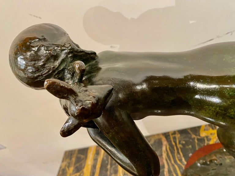Ary Bitter Bronze Art Deco Sculpture Woman Running with Lambs Bronze In Good Condition For Sale In Oakland, CA