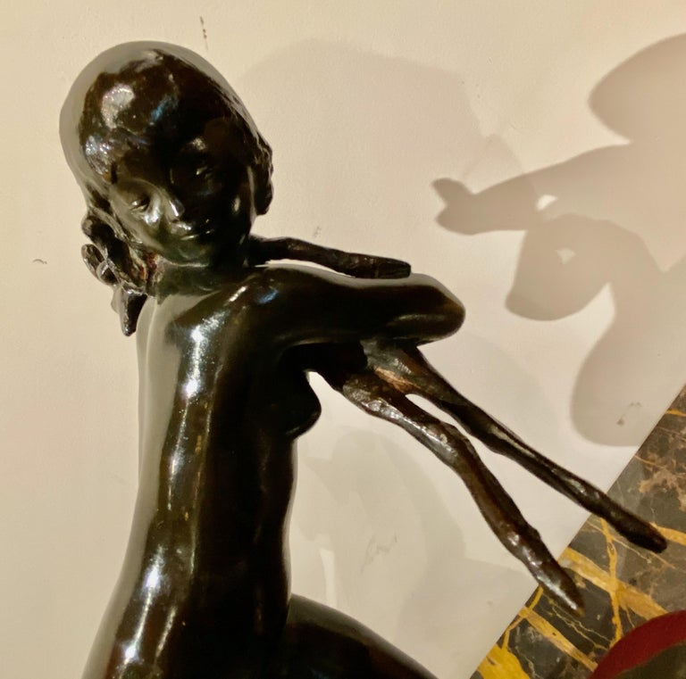 Mid-20th Century Ary Bitter Bronze Art Deco Sculpture Woman Running with Lambs Bronze For Sale