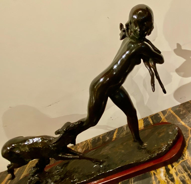 Ary Bitter Bronze Art Deco Sculpture Woman Running with Lambs Bronze For Sale 1
