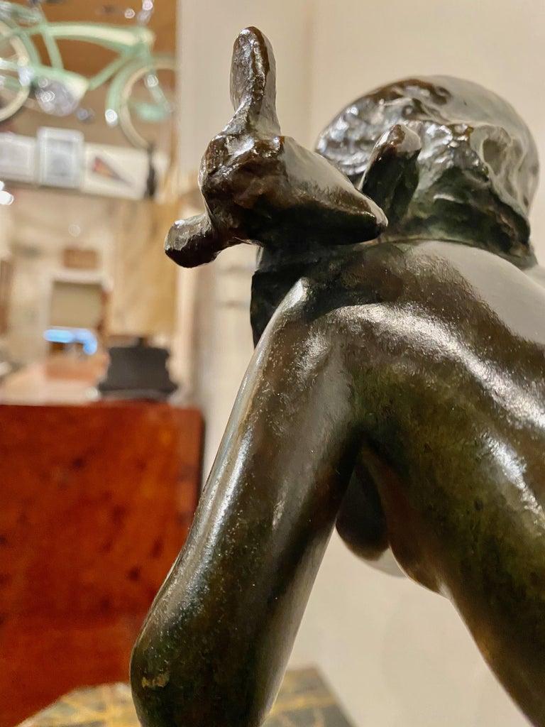 Ary Bitter Bronze Art Deco Sculpture Woman Running with Lambs Bronze For Sale 3