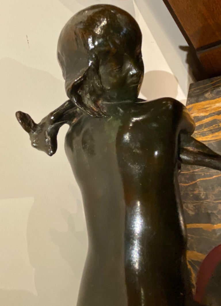 Ary Bitter Bronze Art Deco Sculpture Woman Running with Lambs Bronze For Sale 4