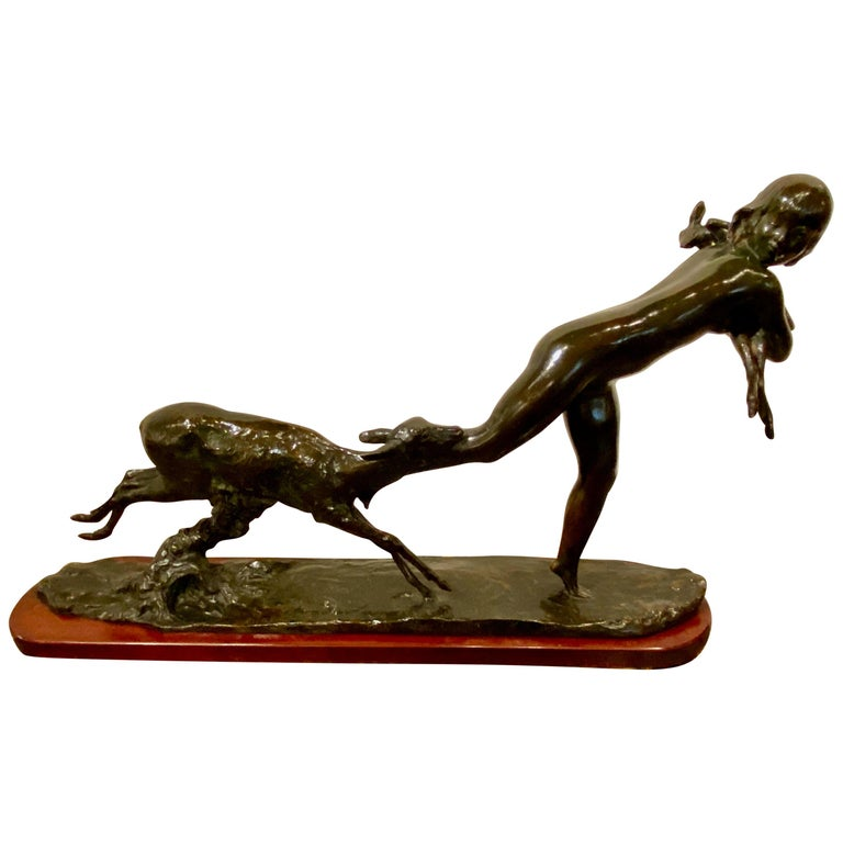 Ary Bitter Bronze Art Deco Sculpture Woman Running with Lambs Bronze For Sale