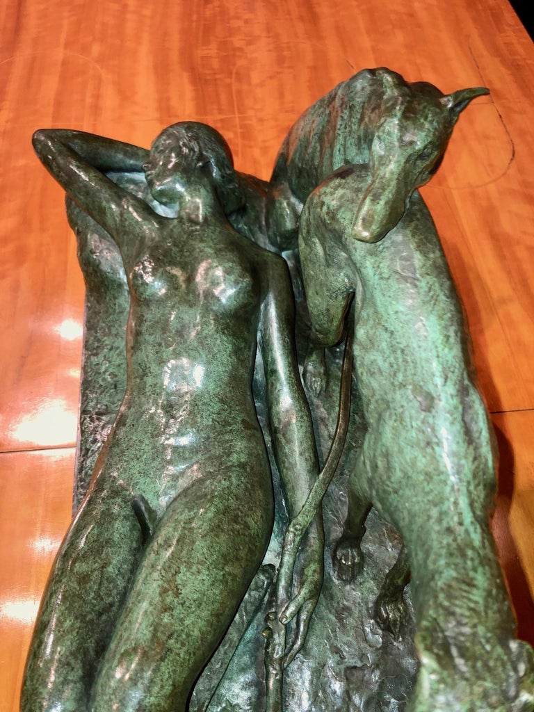 Ary Bitter Reclining Diana with 2 Greyhounds Bronze Art Deco Sculpture For Sale 9