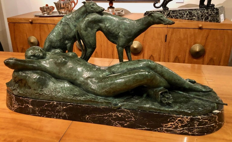 Ary Bitter Reclining Diana with 2 Greyhounds Bronze Art Deco Sculpture For Sale 10