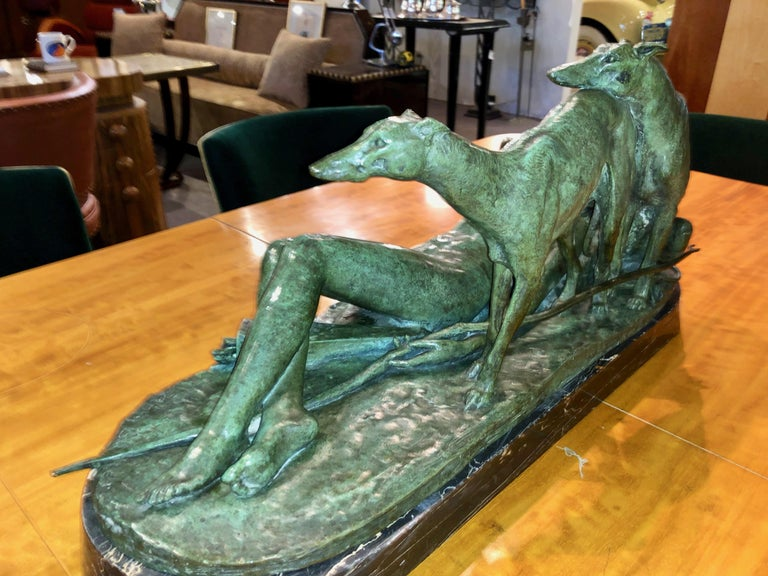 Ary Bitter Reclining Diana with 2 Greyhounds Bronze Art Deco Sculpture In Good Condition For Sale In Oakland, CA