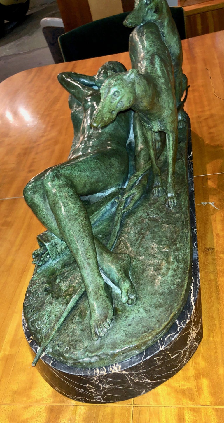 Ary Bitter Reclining Diana with 2 Greyhounds Bronze Art Deco Sculpture For Sale 1