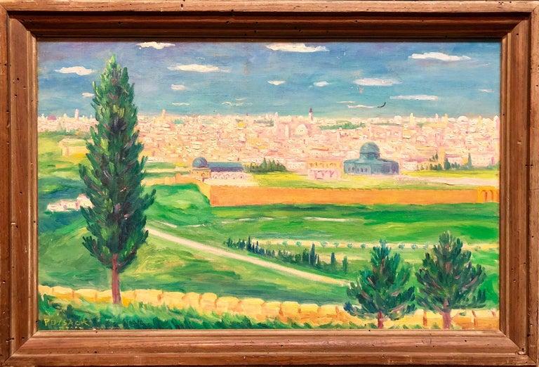 German Israeli Oil Painting Jerusalem Panorama of Old City Walls - Brown Figurative Painting by Arye Leo Peysack