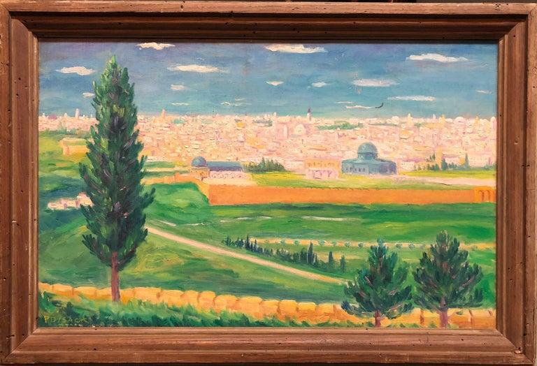 Arye Leo Peysack Figurative Painting - German Israeli Oil Painting Jerusalem Panorama of Old City Walls