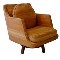 Found Completely Original Edward Wormley for Dunbar Swivel Base Lounge Chair