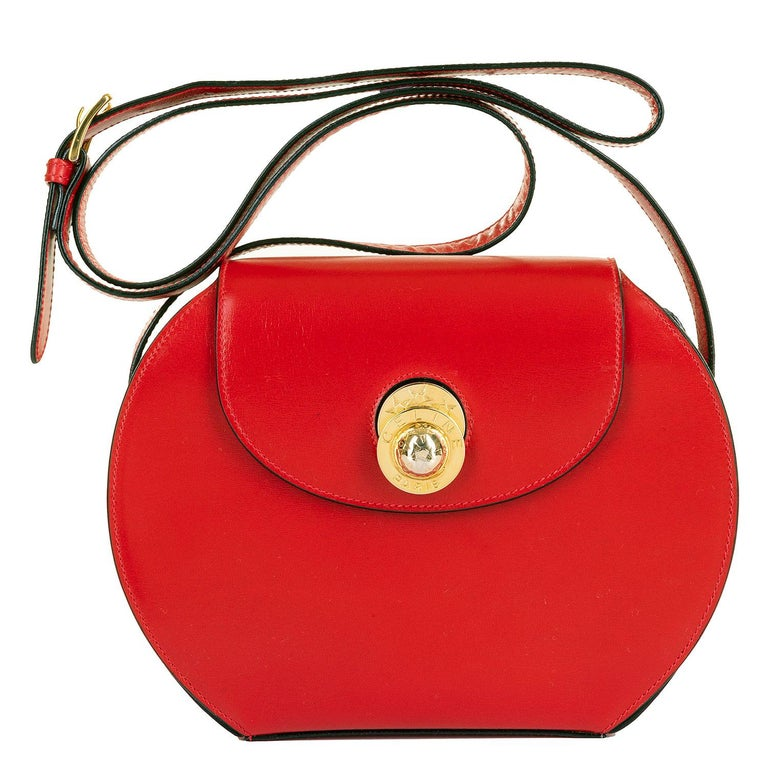 As New Celine of Paris Red Box Leather 'Star' Shoulder Bag with Gold Hardware For Sale