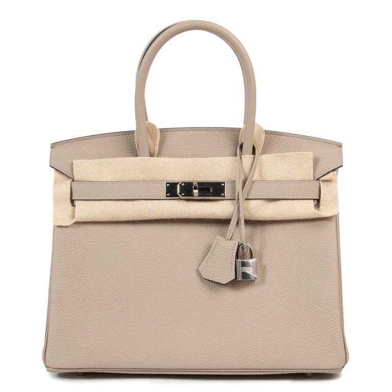 Brown As New Hermes Birkin 30 Gris Tourterelle Togo PHW For Sale
