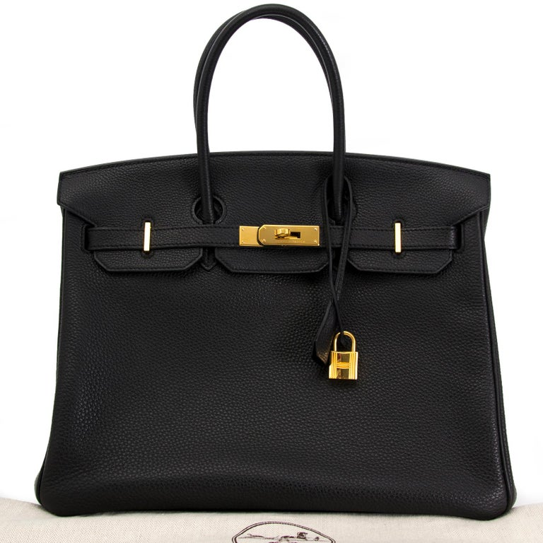 Get your hands on this gorgeous Birkin. made from togo leather, this bag is incredibly smooth to the touch and is almost completely scratch-resistant.  This bag is featured in black, making it versatile and perfect for any occasion.  Gold hardware