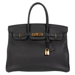 As New Hermes Birkin 35 Black Togo GHW