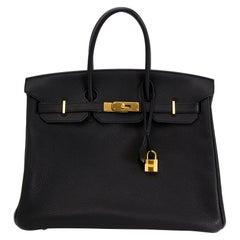 As New Hermes Birkin 35 Black Togo GHW