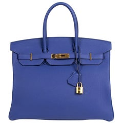 As New Hermes Birkin 35 Blue Electrique GHW