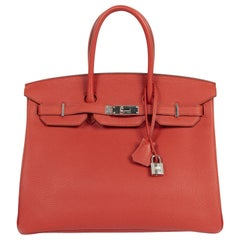 As New Hermes Birkin 35 Togo Rouge Vermillion PHW