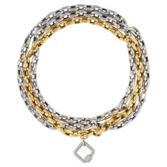 AS29 18 Karat Gold Diamond Pave Oval Carabinier with Double Chains Bracelet