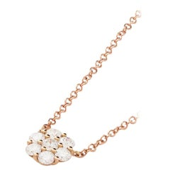 AS29 18 Karat Pink Gold Essential Halo Cluster Round Diamond 'Large' Necklace