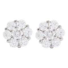 AS29 18 Karat White Gold Cluster Diamond Stud Earrings